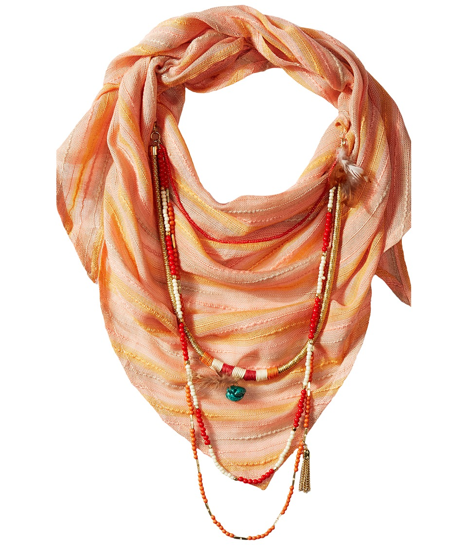 BCBGeneration Striped Layered Triangle Scarf Coral Reef Scarves