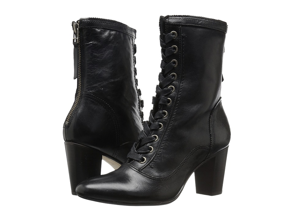 Ladies Victorian Boots & Shoes Johnston amp Murphy - Adaline Bootie Black Italian Washed Leather Womens Lace-up Boots $174.99 AT vintagedancer.com