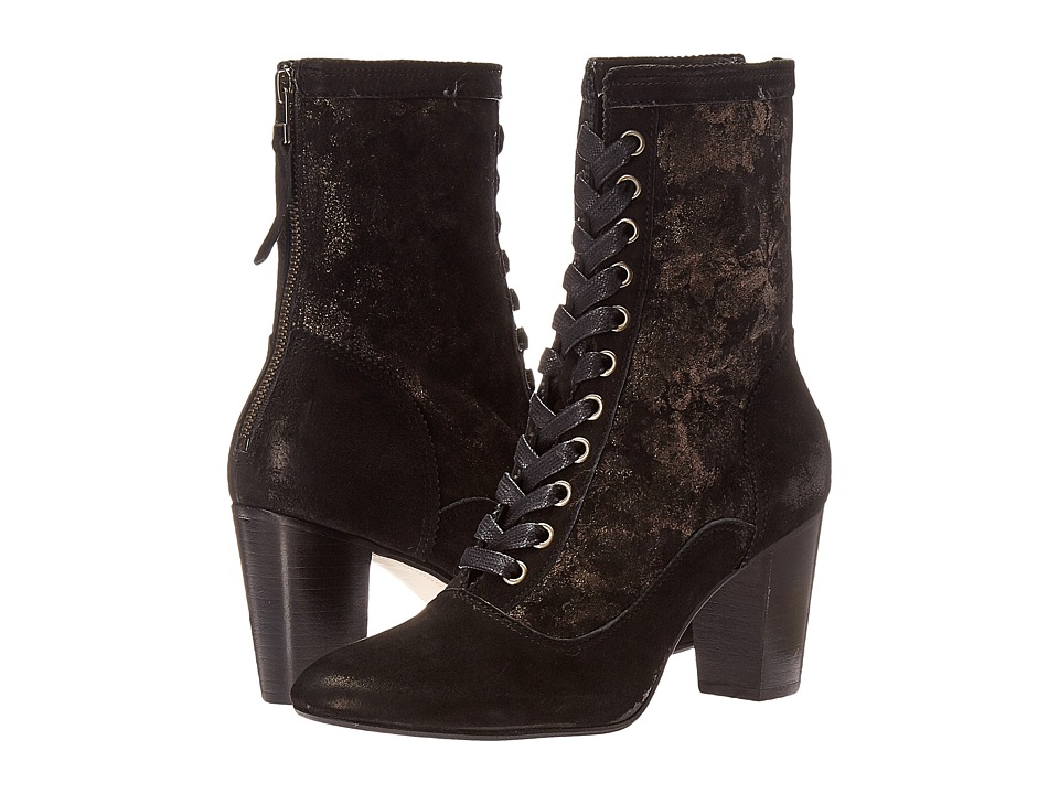 Ladies Victorian Boots & Shoes Johnston amp Murphy - Adaline Bootie Black Italian Kid SuedeBlack Italian Metallic Printed Suede Womens Lace-up Boots $222.99 AT vintagedancer.com