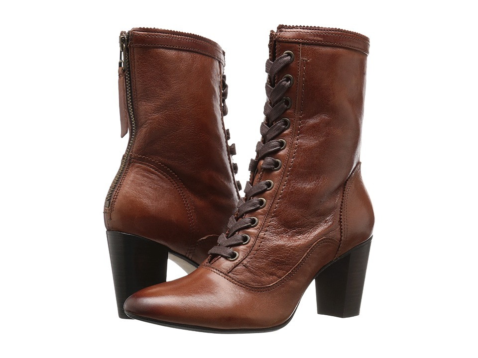Victorian Boots & Shoes Johnston amp Murphy - Adaline Bootie Whiskey Italian Washed Leather Womens Lace-up Boots $174.99 AT vintagedancer.com