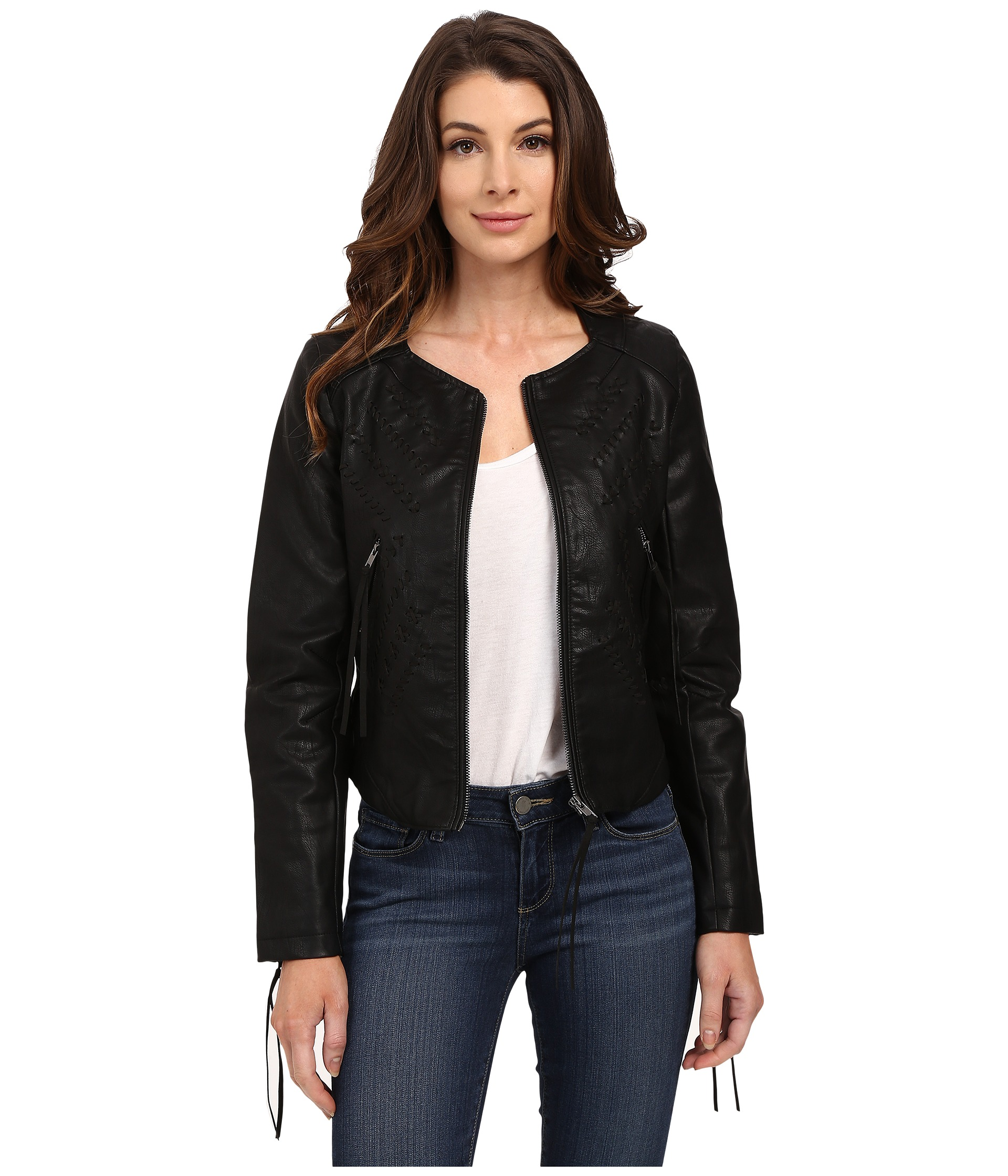 Blank NYC Vegan Leather Crop Embroidered Jacket Black
