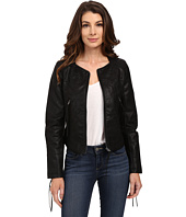 Blank NYC - Vegan Leather Crop Embroidered Jacket