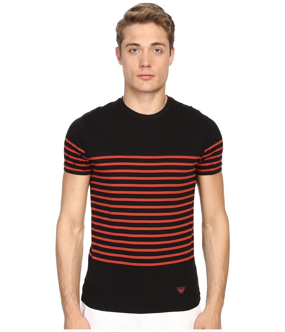 Armani Jeans Stripped Crew Neck Tee Black/Orange Stripes Mens Short Sleeve Pullover