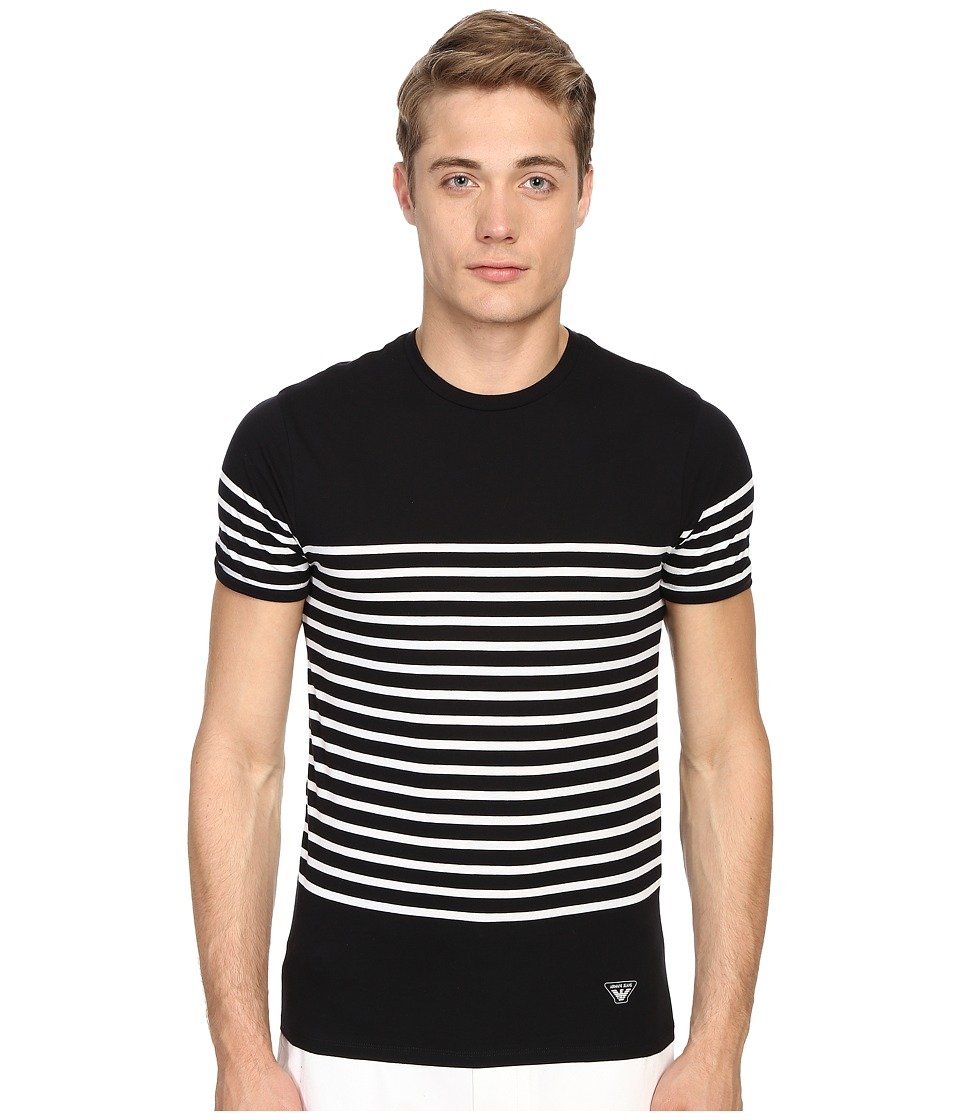 Armani Jeans Stripped Crew Neck Tee Navy/White Stripes Mens Short Sleeve Pullover