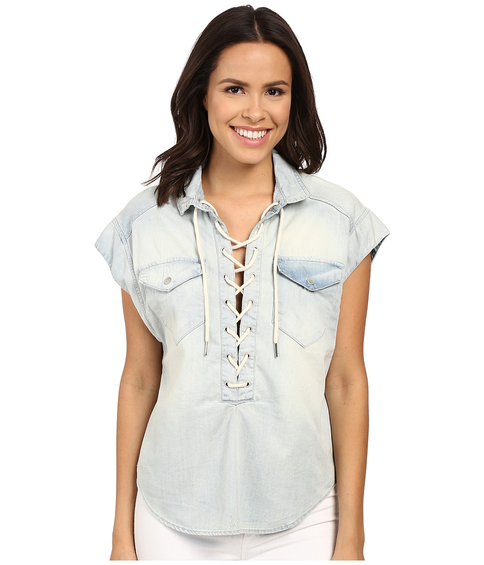 Blank NYC Oversized Short Sleeve Tie Up Denim Shirt Denim Blue Womens Short Sleeve Knit