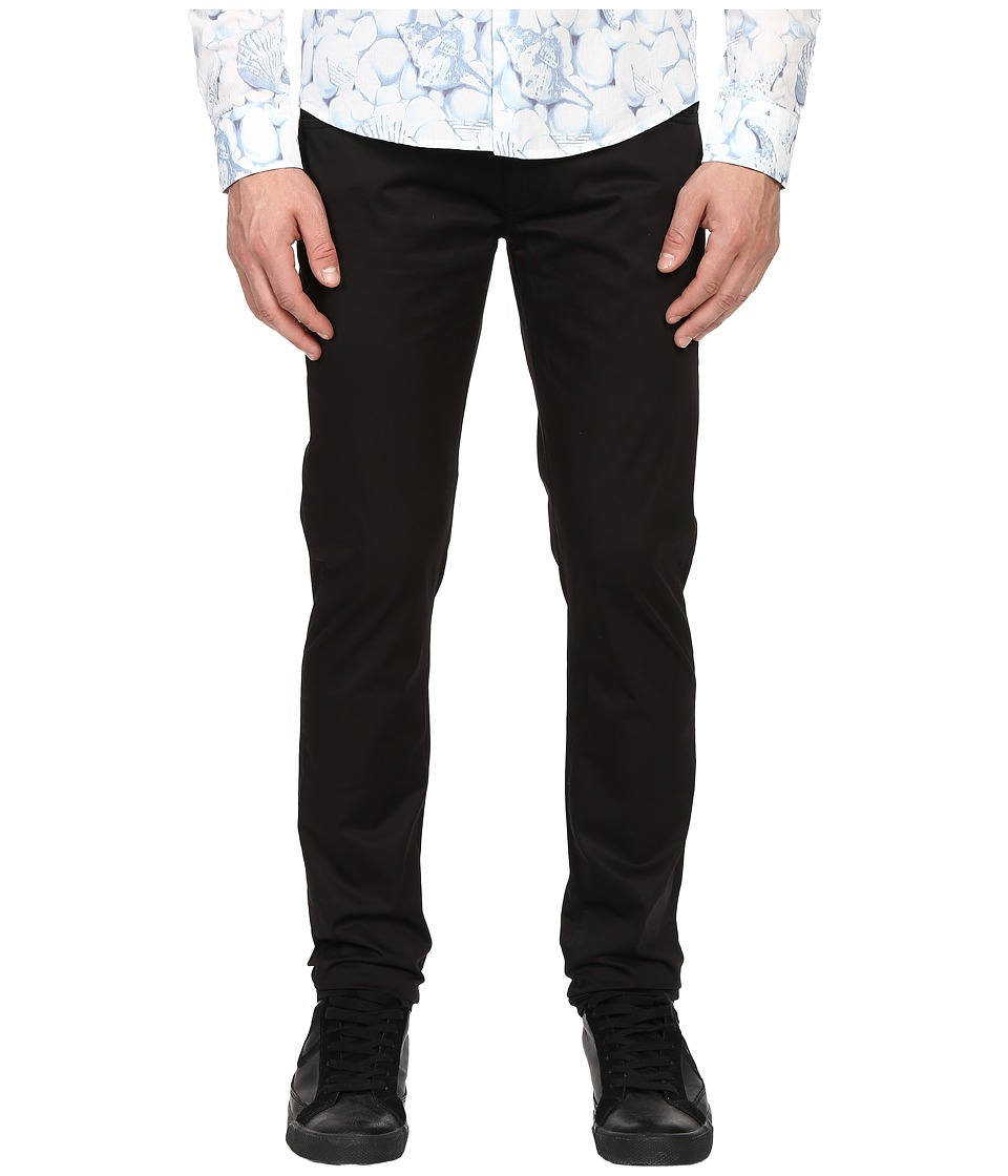 Armani Jeans Slim Fit Button Fly Jeans in Black Black Mens Jeans