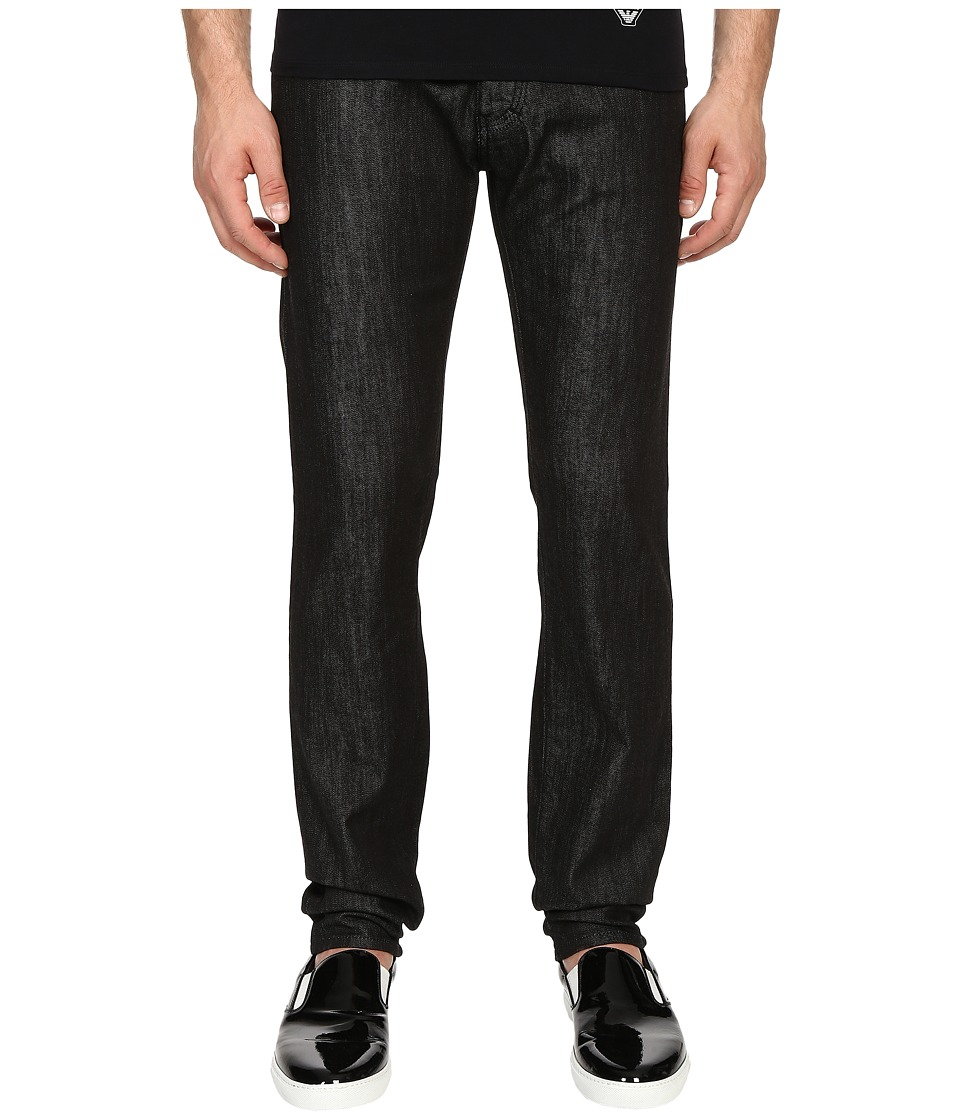 Armani Jeans Slim Fit Five Pocket Jeans in Black Black Mens Jeans