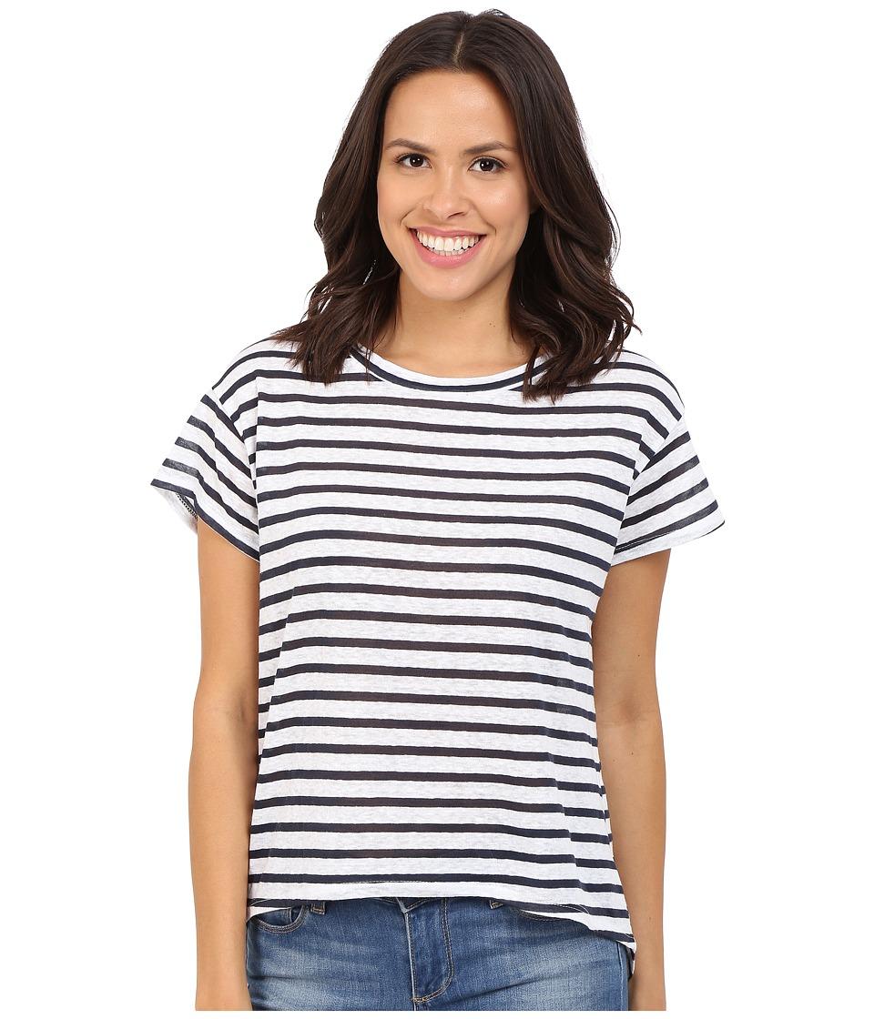 LNA Ashley Backtail Crew White/Navy Stripe Womens Short Sleeve Pullover