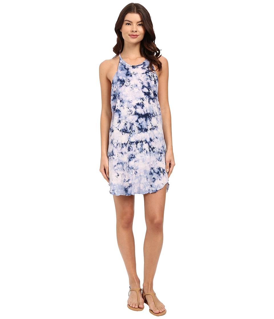 LNA Bib Tank Mini Dress Blue Tie Dye Womens Dress