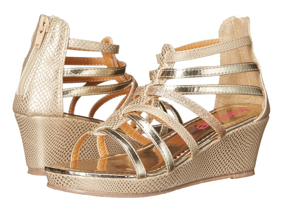 kensie girl Kids Multi Strap Wedge Sandals Little Kid/Big Kid Gold Girls Shoes