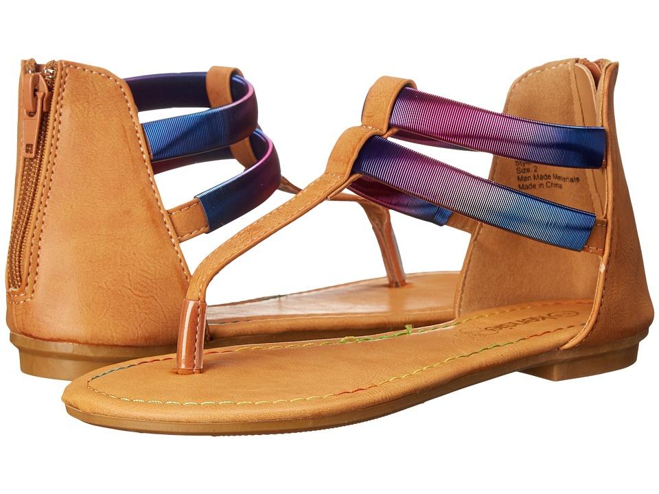 kensie girl Kids Double Strap Thong Sandals Little Kid/Big Kid Brown Multi Girls Shoes