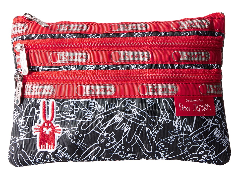 LeSportsac 3 Zip Cosmetic Case Scribble Rabbits Cosmetic Case