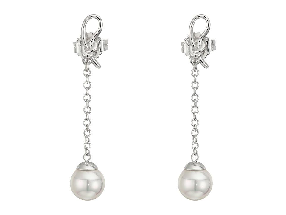 Majorica Ribbon Earrings Silver/White Earring