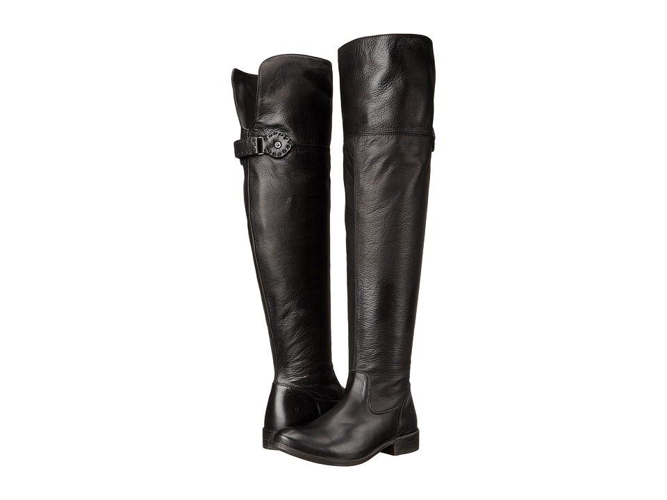 Frye Shirley Over-The-Knee Wide (Black Smooth Vintage Leather Extended) Women