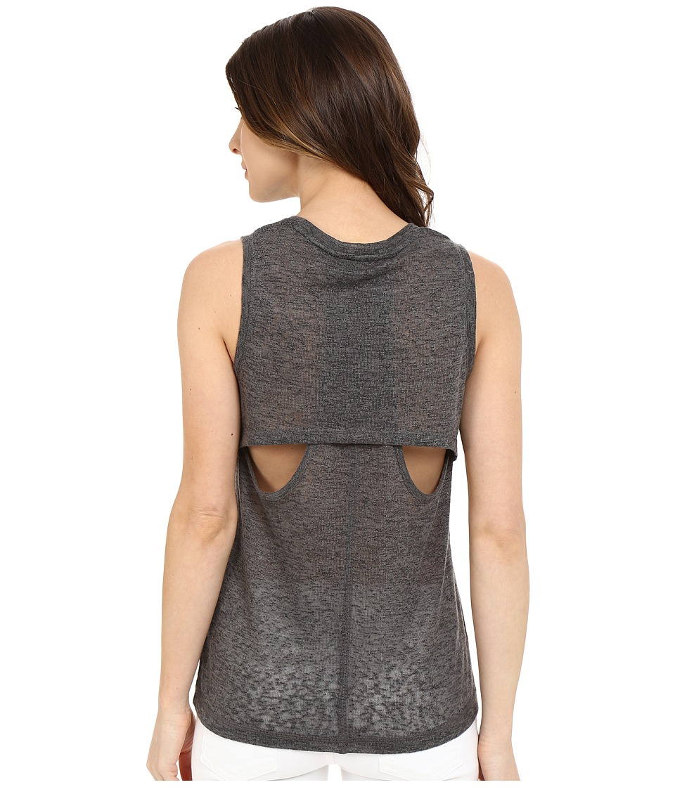 Blank NYC Muscle Tee with Overlapping Racerback Detail Charcoal Grey Womens Sleeveless
