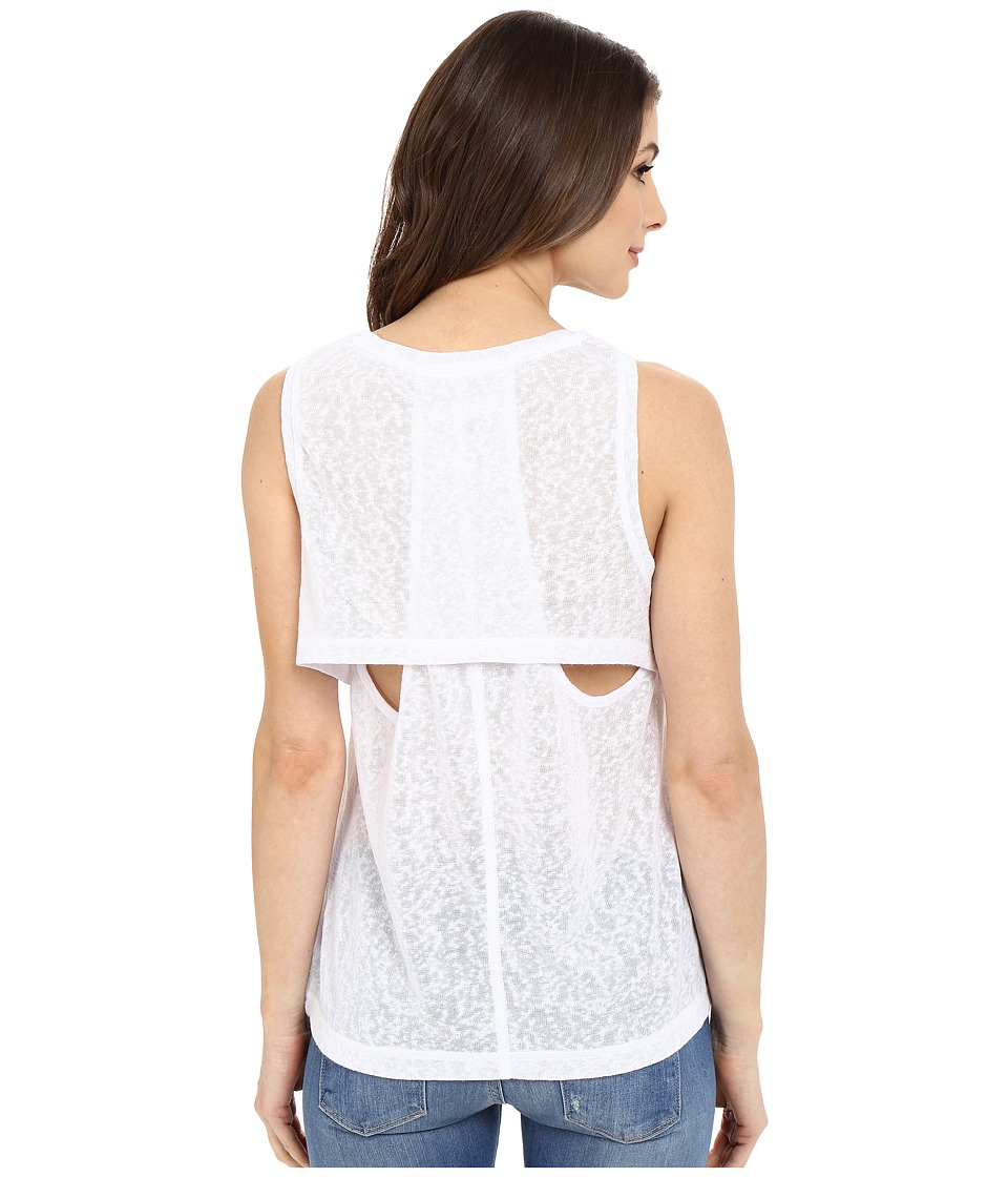 Blank NYC Muscle Tee with Overlapping Racerback Detail White Womens Sleeveless