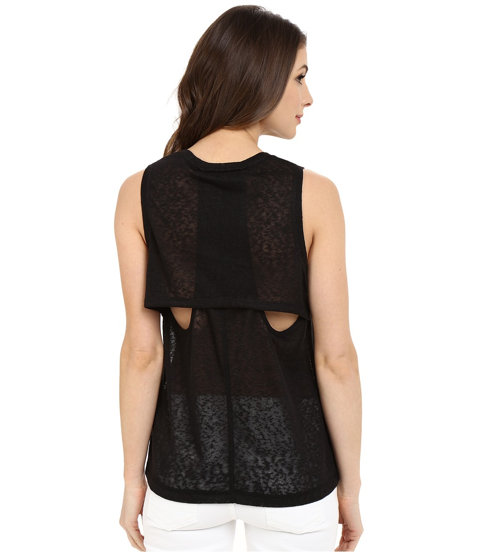 Blank NYC Muscle Tee with Overlapping Racerback Detail Black Womens Sleeveless