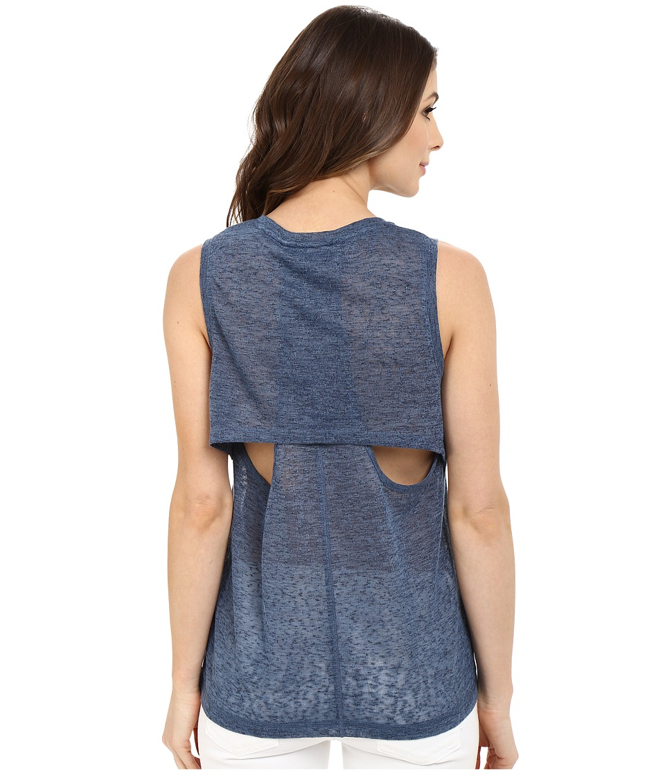 Blank NYC Muscle Tee with Overlapping Racerback Detail Blue Womens Sleeveless