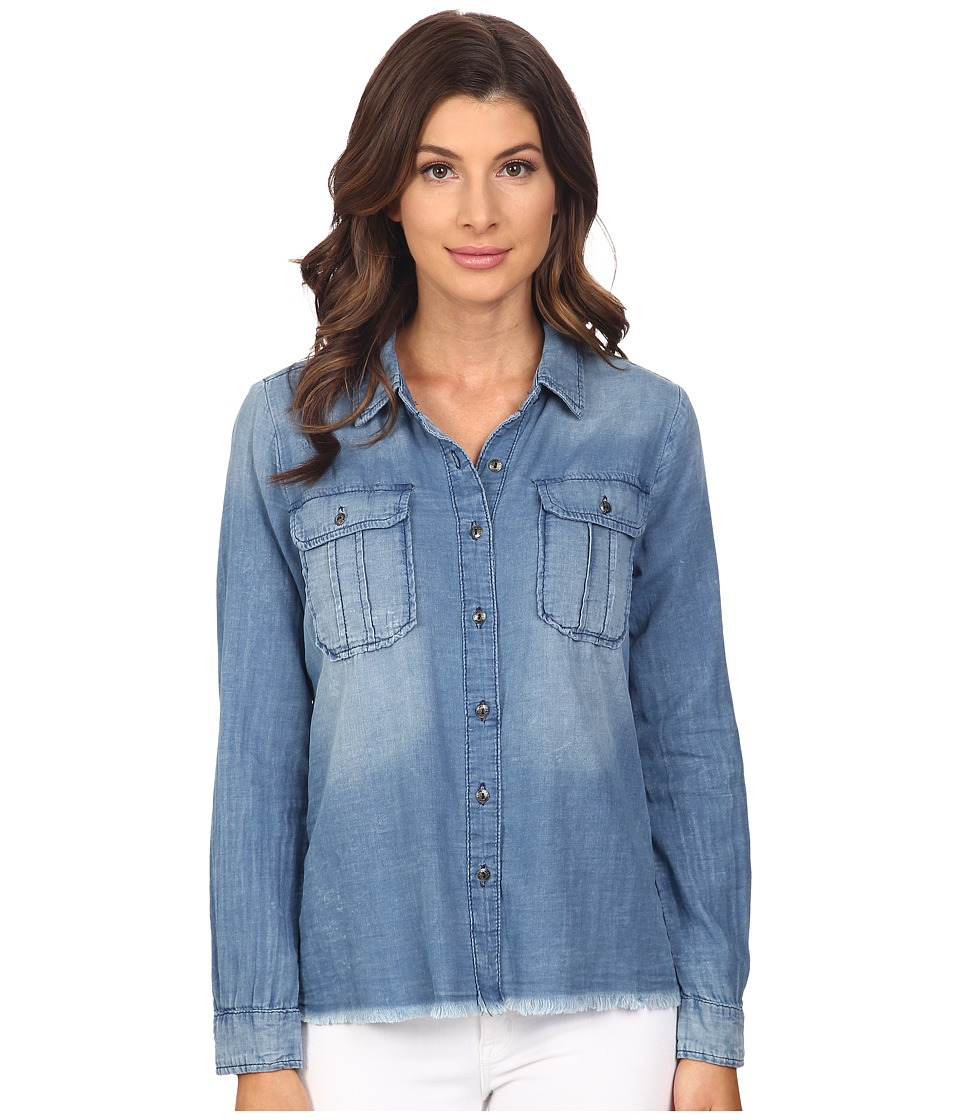 Blank NYC Denim Shirt with Released Hem Denim Blue Womens Long Sleeve Button Up