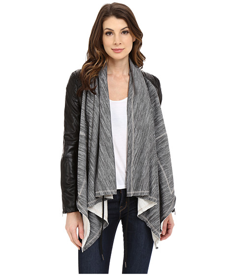 Blank NYC Vegan Leather Sleeved French Terry Drape Front Jacket