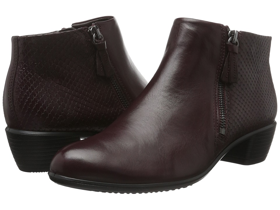 ECCO - Touch 35 Bootie (Bordeaux/Bordeaux Cow Leather) Women