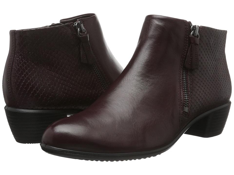 ECCO Touch 35 Bootie (Bordeaux/Bordeaux Cow Leather) Women