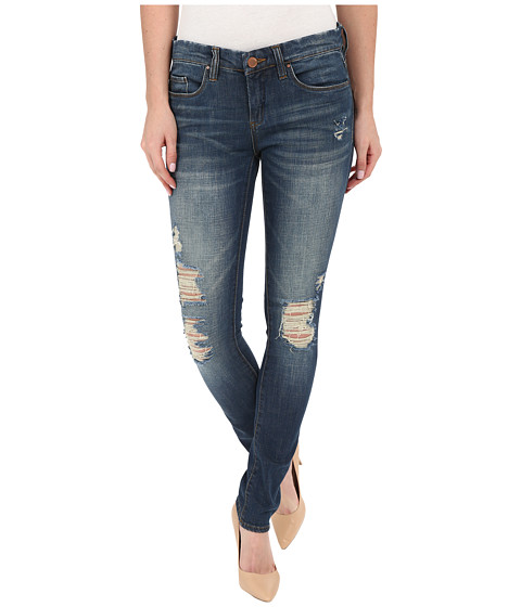 Blank NYC Skinny Classique Jeans with Distressing in Denim Blue - Denim Blue