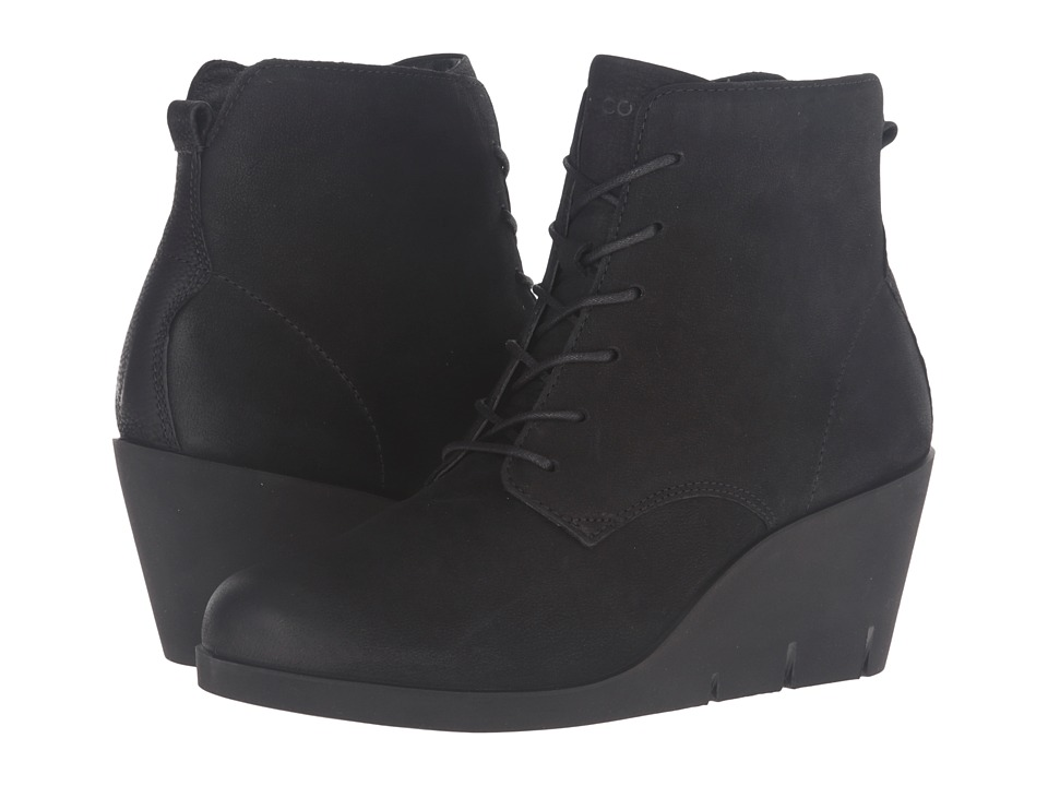 ECCO - Bella Wedge Tie (Black Cow Nubuck) Women