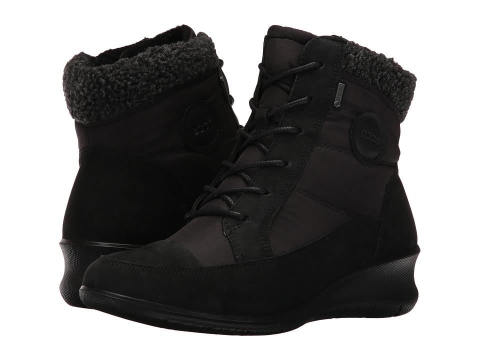ECCO Babett Wedge Lace Boot (Black Cow Nubuck) Women