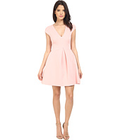 Halston Heritage - Cap Sleeve V-Neck Structure Dress w/ Cut Out Back