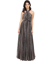Halston Heritage - Sleeveless Cross Neck Printed Gown w/ Hardware at Neck
