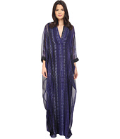 Halston Heritage - Long Sleeve V-Neck Kaftan Printed Gown