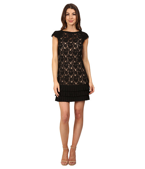 Jessica Simpson - Lace Dress with Tiers (Black/Nude) Women's Dress
