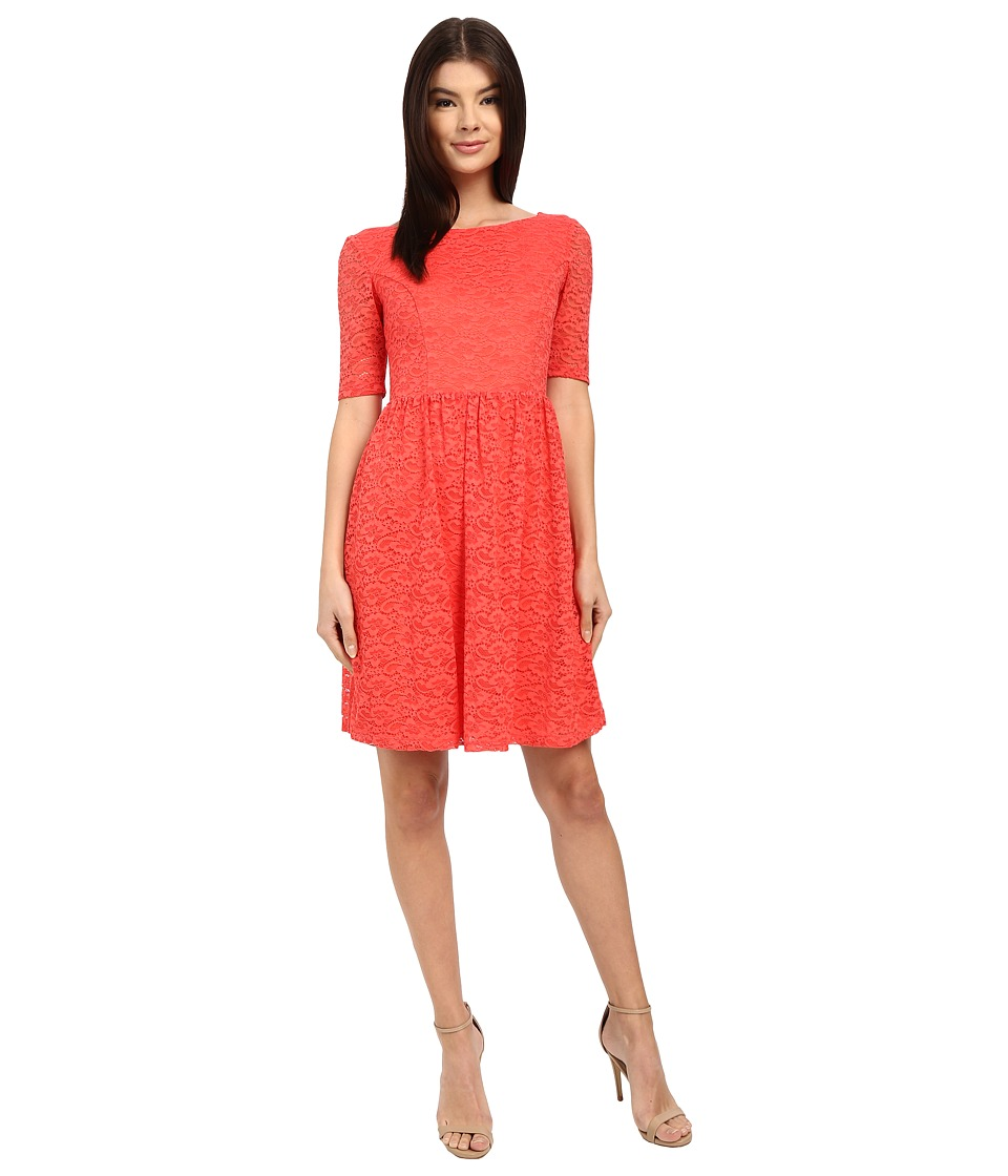 Jessica Simpson Lace Fit and Flair Dress Coral Womens Dress
