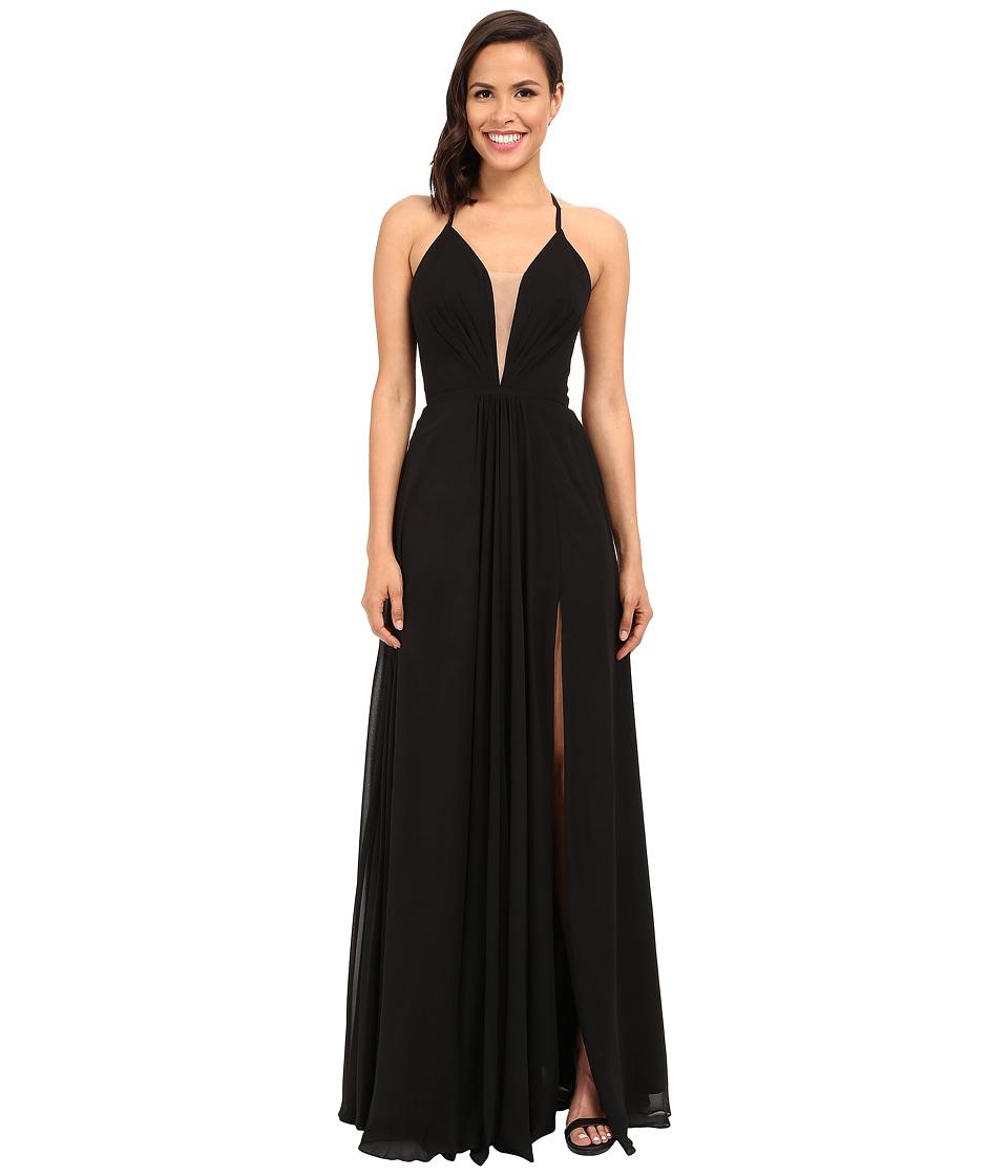 Faviana Chiffon V Neck Gown w/ Full Skirt 7747 Black Womens Dress