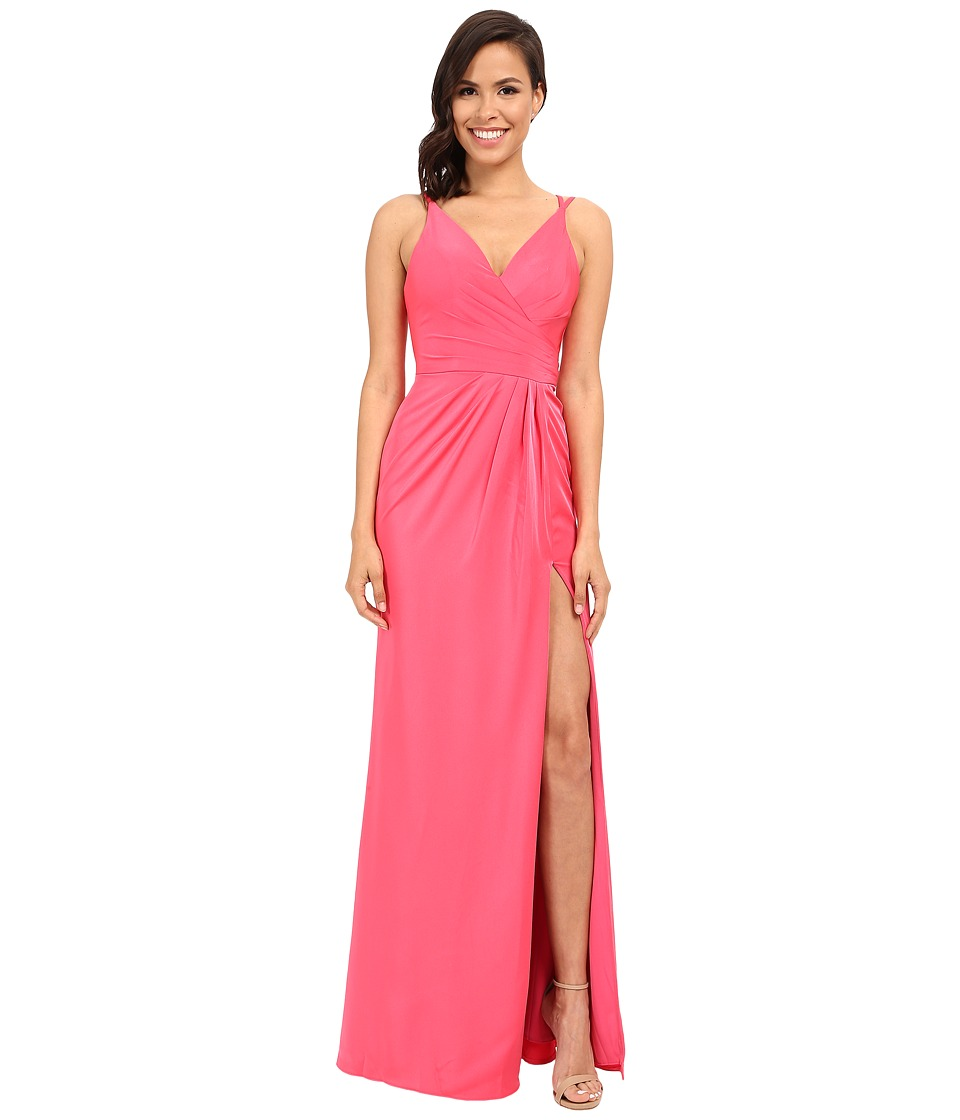 Faviana - Satin Faille V-Neck Gown w/ Lightly Rouched Bodice Delicate Draping On Skirt 7755 (Coral) Womens Dress