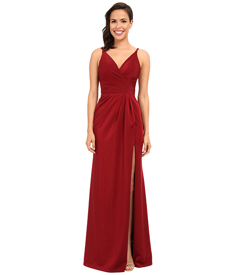 Faviana Satin Faille V-Neck Gown w/ Lightly Rouched Bodice & Delicate Draping On Skirt 7755 - Wine