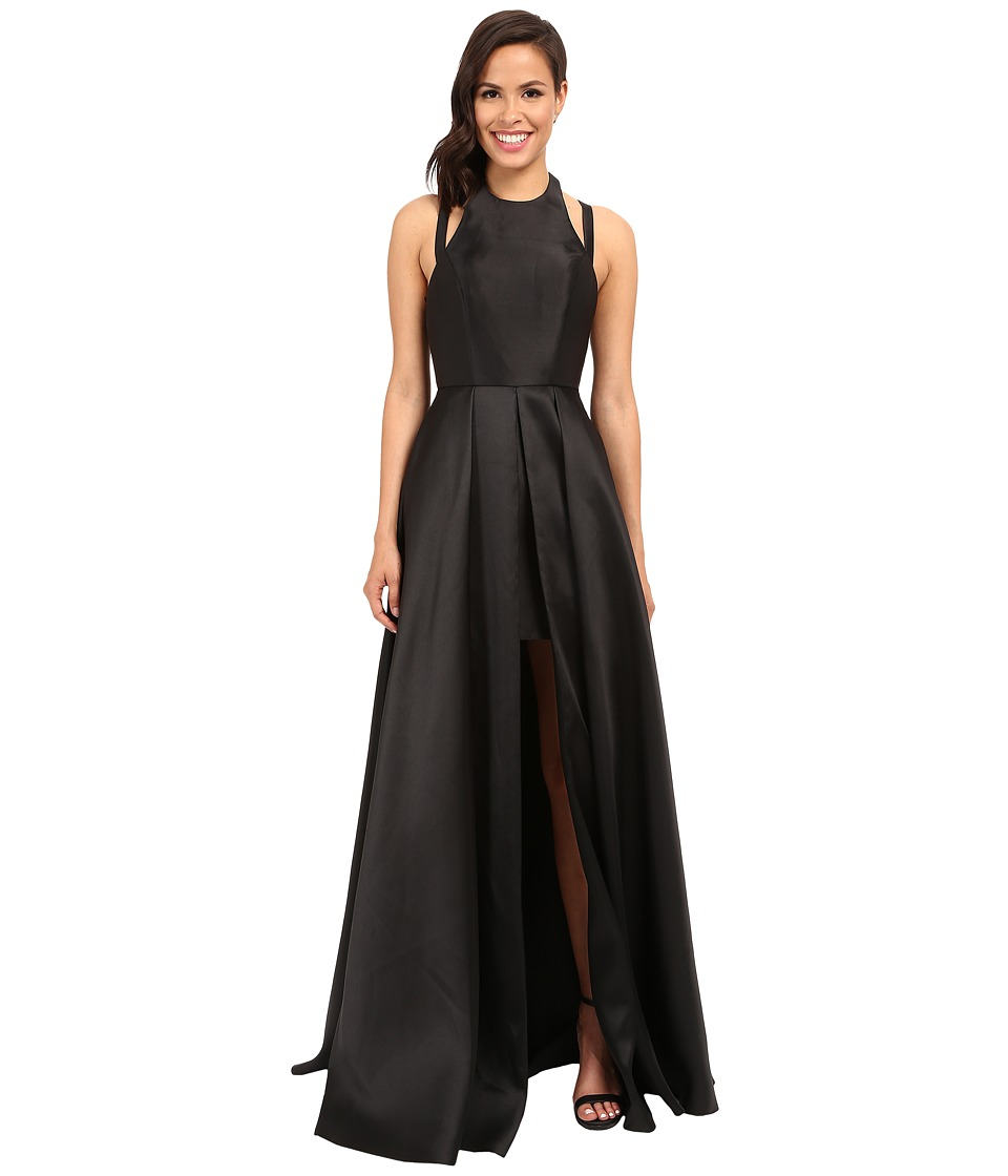 Faviana Frosted Satin Gown with Split Front Overskirt 7752 Black Womens Dress