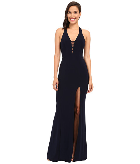 Faviana V-Neck Chiffon Dress 7540 - Navy