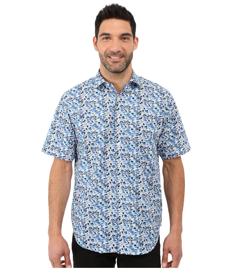 BUGATCHI Bondi Beach Classic Fit Short Sleeve Woven Shirt Classic Blue Mens Short Sleeve Button Up