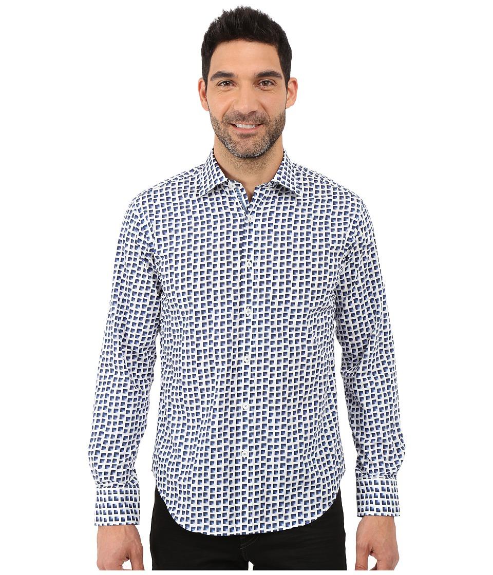 BUGATCHI Azul Shaped Fit Long Sleeve Woven Shirt Midnight Mens Long Sleeve Button Up