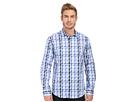 Bugatchi Maze Shaped Fit Long Sleeve Woven Shirt (Classic Blue)