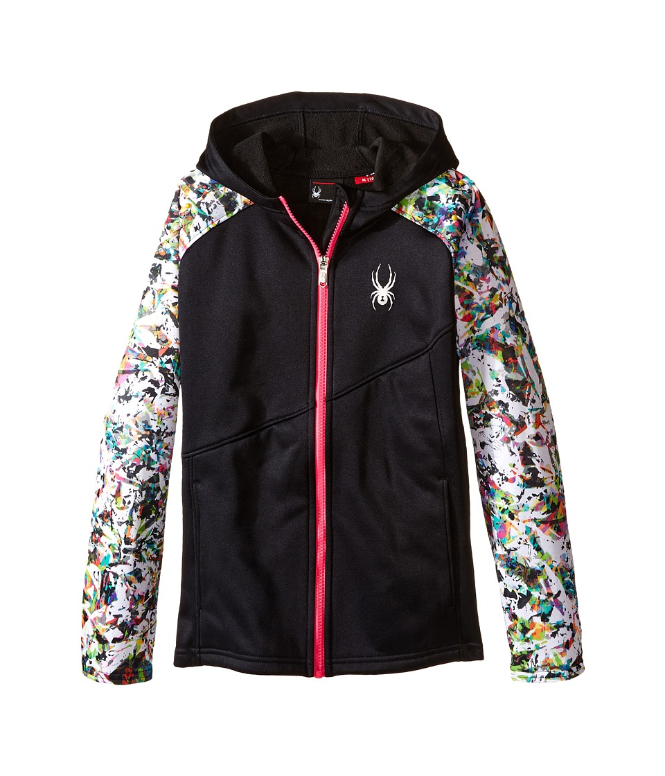 Spyder Kids Crush Hoody Fleece Jacket (Little Kids/Big Kids) (Black/Kaleidoscope/White/Voila) Girl