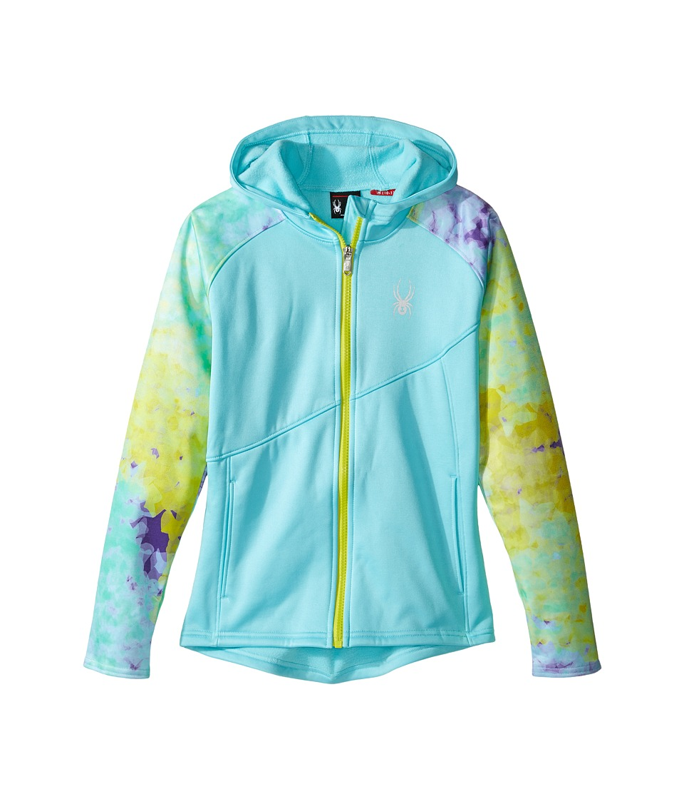 Spyder Kids Crush Hoody Fleece Jacket (Little Kids/Big Kids) (Freeze/Morning Sky Acid/Acid) Girl
