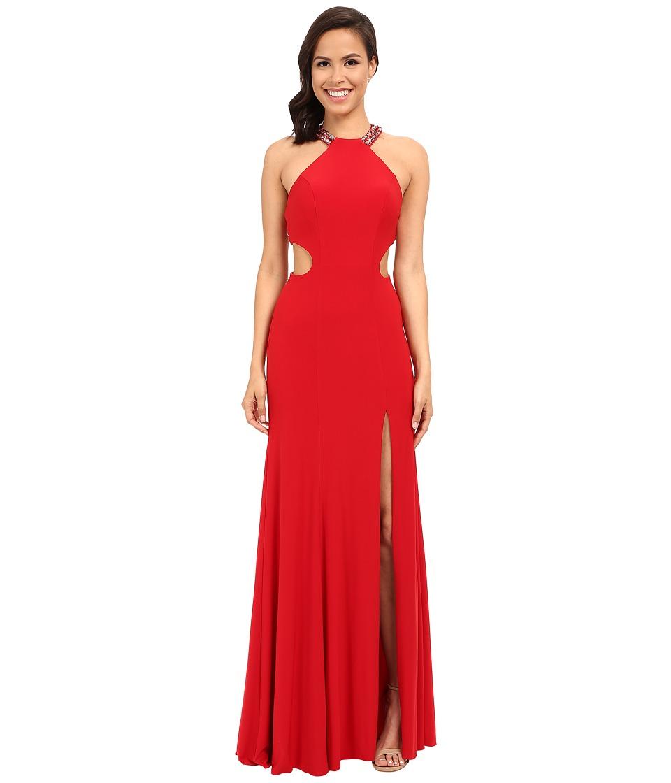 Faviana Jersey Scoop Neck w/ Beaded Back Detail 7543 (Red) Women