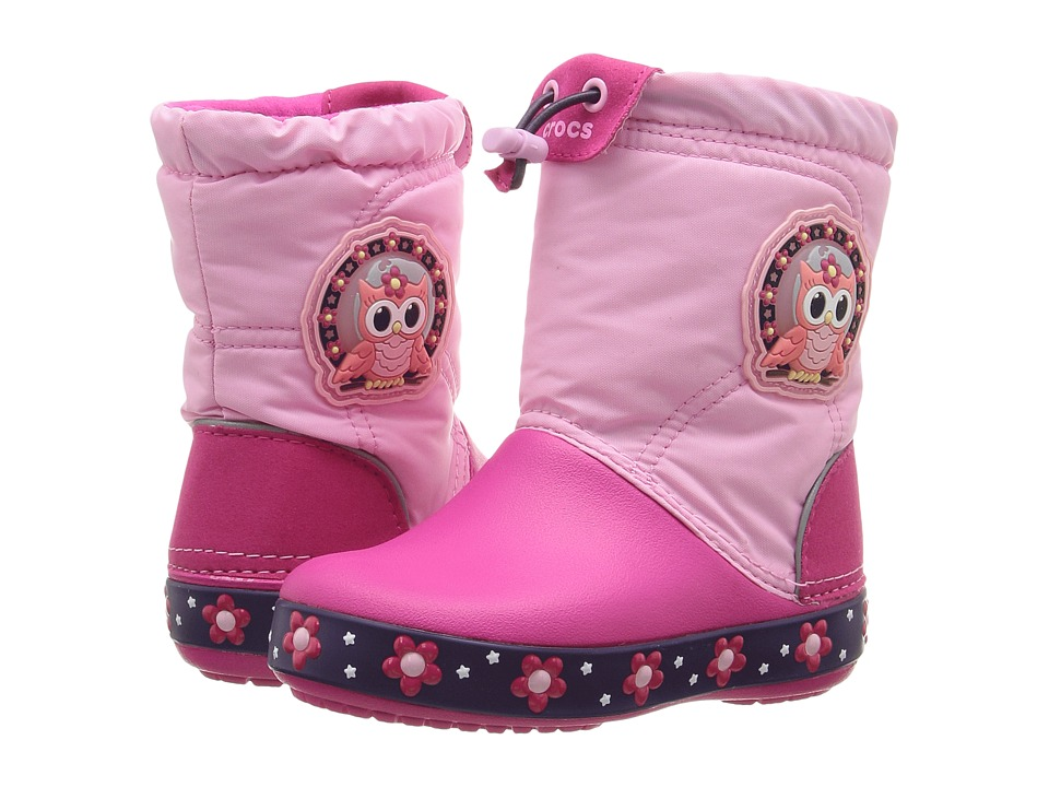 Crocs Kids CrocsLights Lodge Point Night Owl Boot (Toddler/Little Kid) (Party Pink/Candy Pink) Girls Shoes