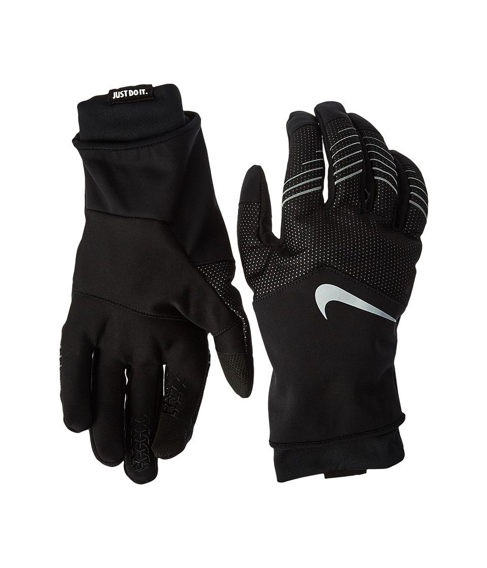 Nike Storm-Fit Hybrid Run Gloves (Black/Silver) Athletic ...