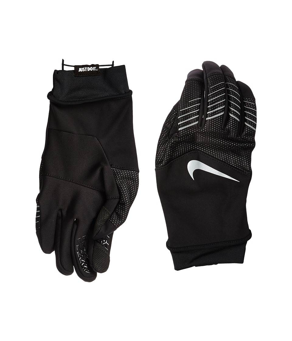 Nike Storm-Fit Hybrid Run Gloves (Black/Silver) Athletic ...