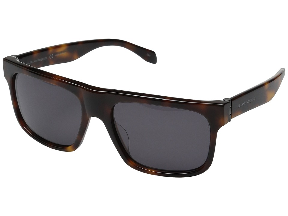 Alexander McQueen AM0037S Havana/Smoke Fashion Sunglasses
