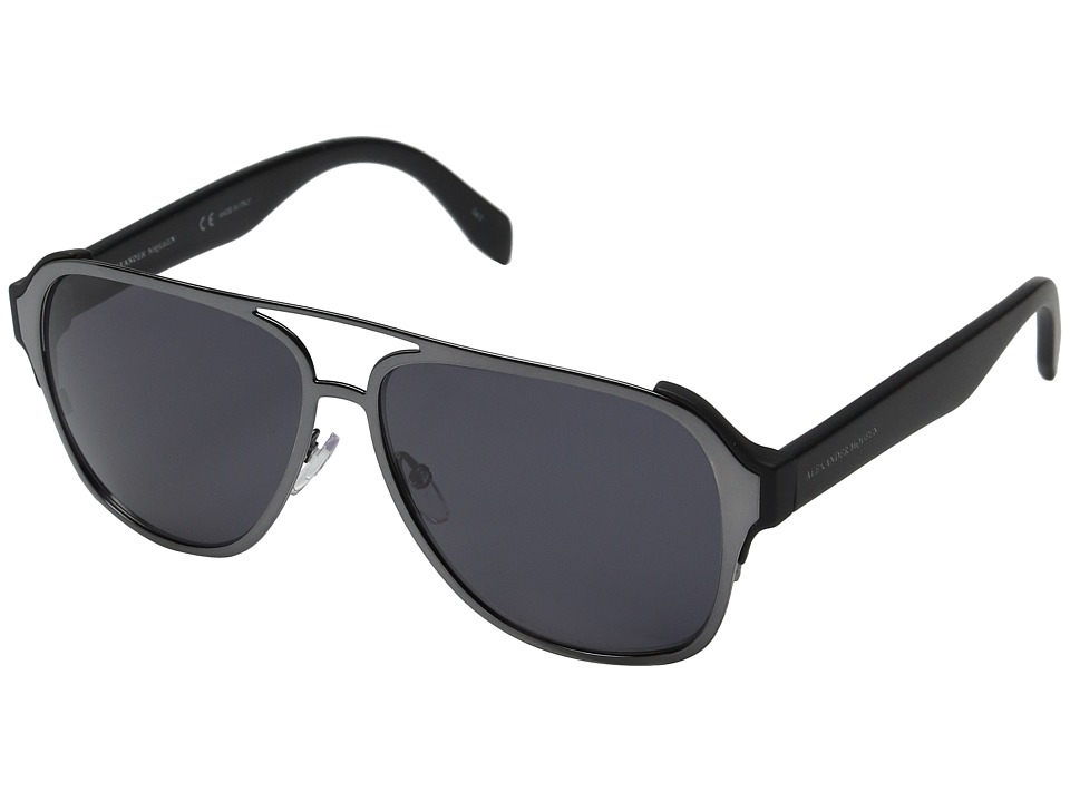 Alexander McQueen AM0012S Ruthenium/Smoke Fashion Sunglasses